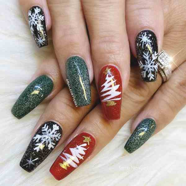 Winter Coffin Nail 2020011422 - 40+ Winter Coffin Nail Designs You Must Try