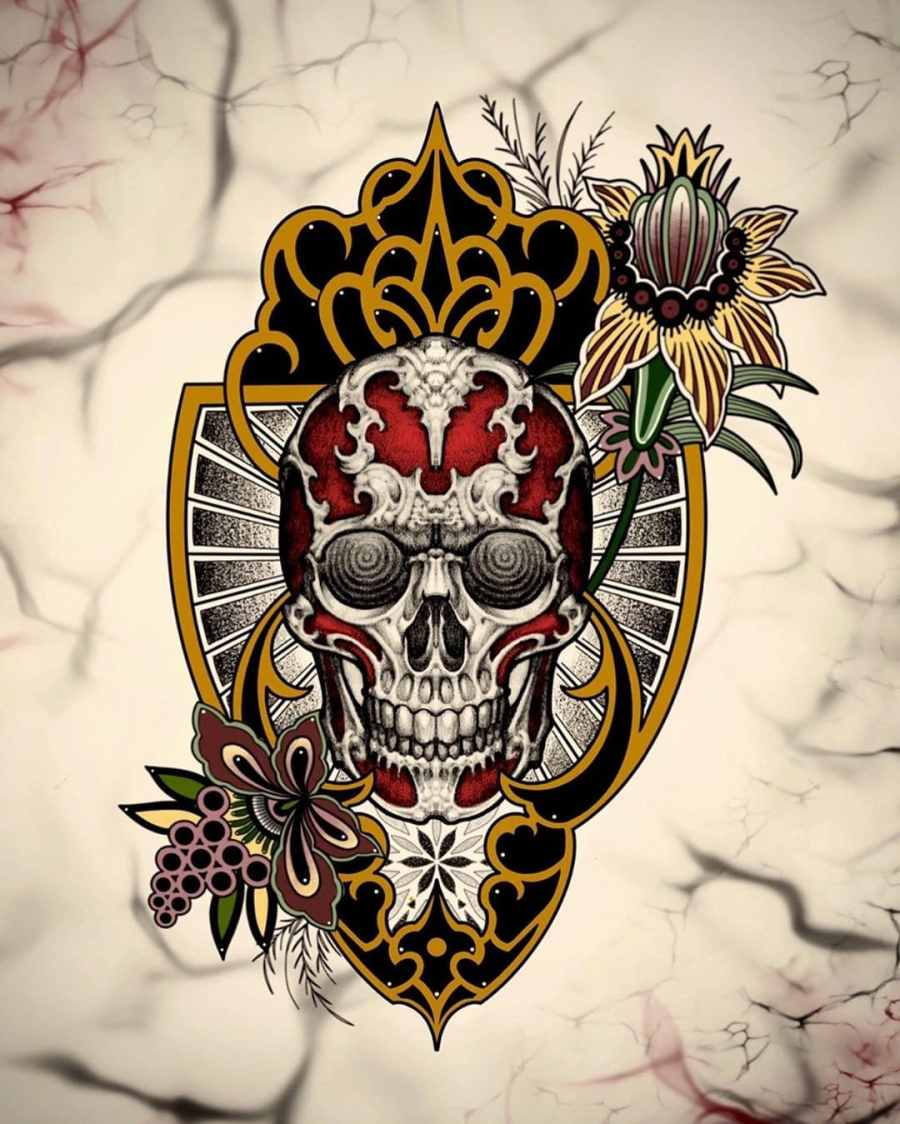 skull tattoo 2020070501 - 10 Best Skull Tattoo Designs and Meaning