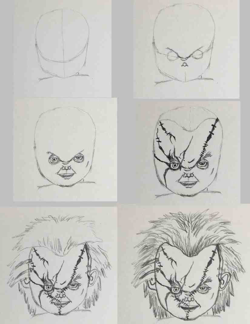 Draw Chucky 2020092916 scaled - How to Draw CHUCKY (Child's Play)-Step by Step
