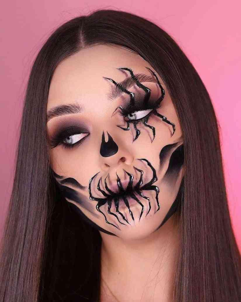 spider makeup 2020090708 - 20+ Creepy Spider Makeup for Halloween 2020