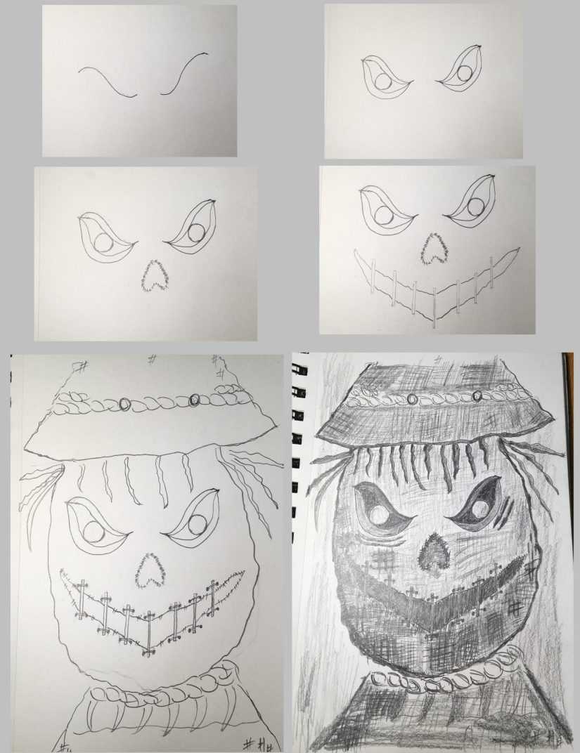 Draw a Scarecrow 2020101007 scaled - How to Draw a Scarecrow - Inspire Halloween Makeup