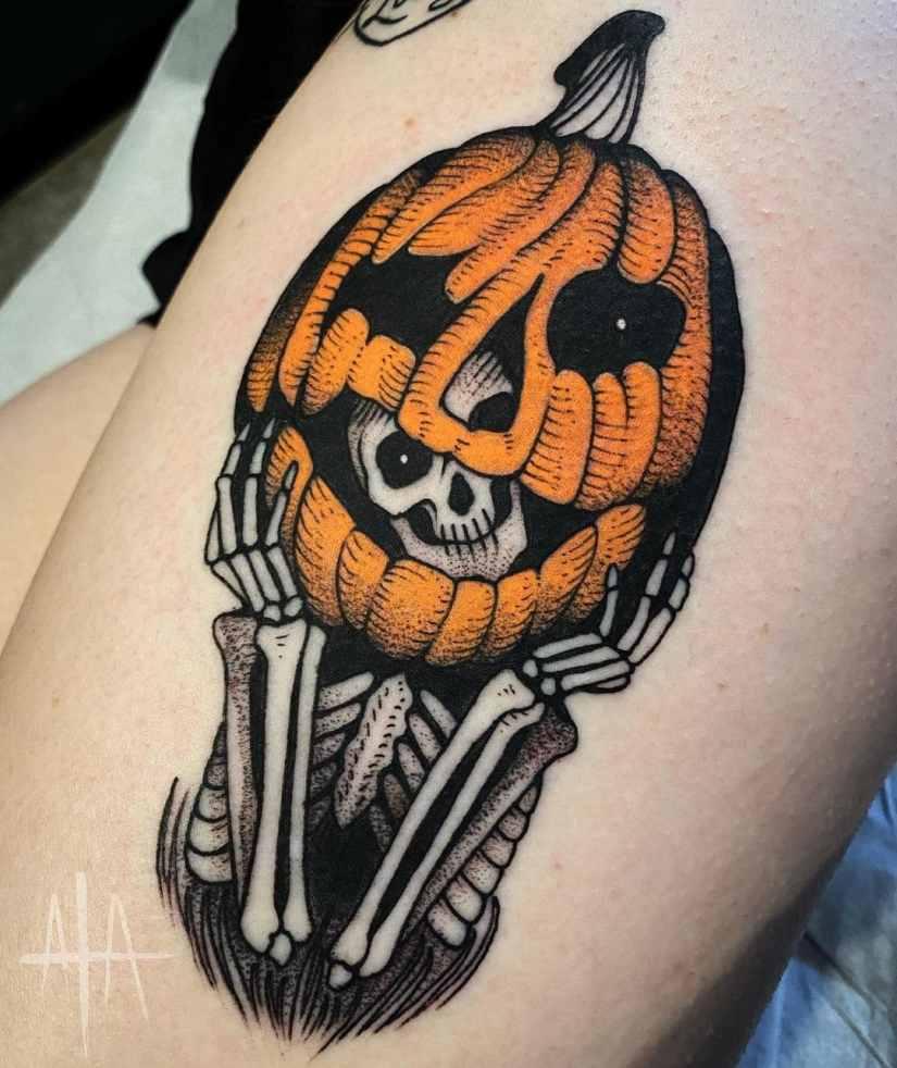 pumpkin tattoo 2021011801 - 10+ special pumpkin tattoo ideas 2021