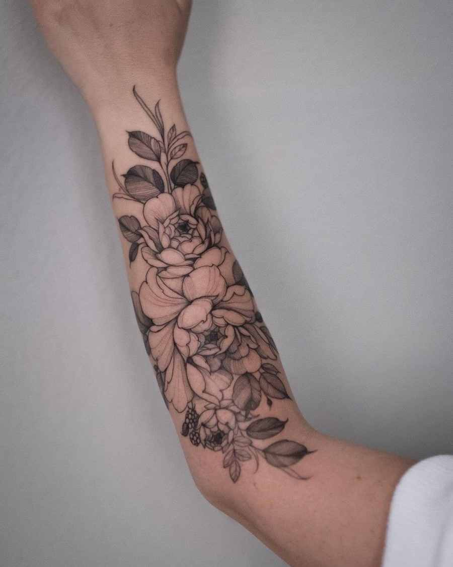 Floral Tattoo 2021061004 - 10+ Floral Tattoo Designs to Give You Warmth