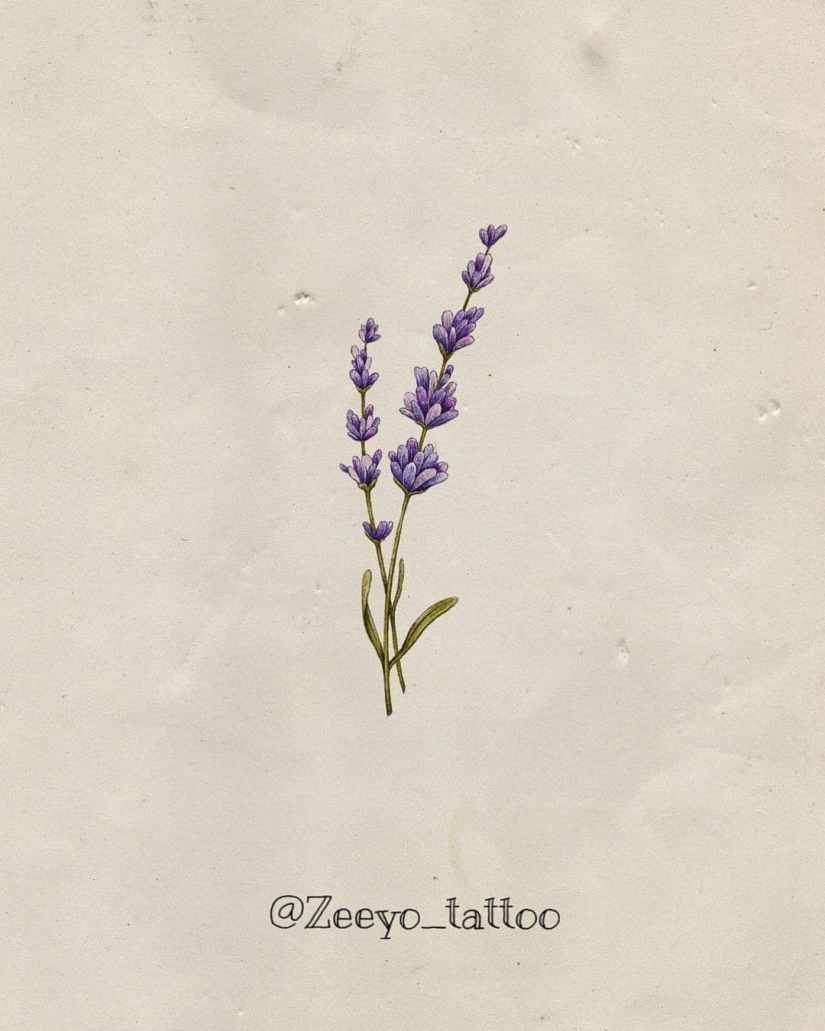 Lavender Tattoos 2021060301 - 10 Beautiful Lavender Tattoos to Inspire You