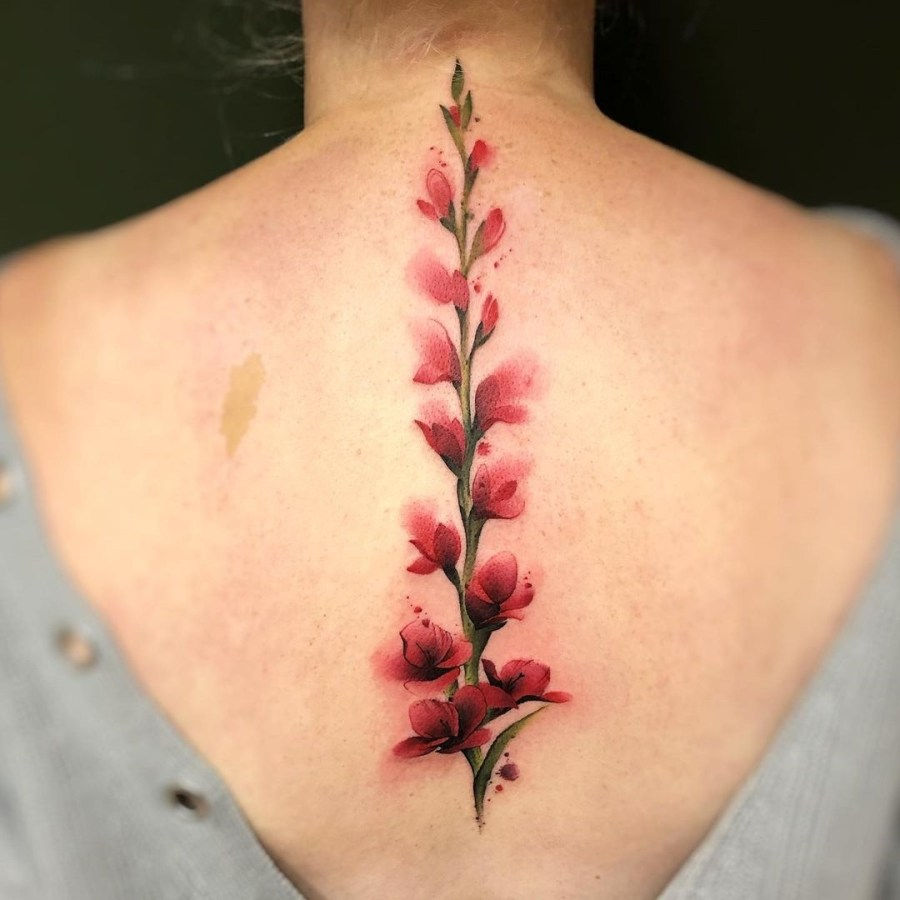 August Birth Flower Tattoos 2021072907 - August Birth Flower Tattoos: Poppy and Gladiolus Tattoos