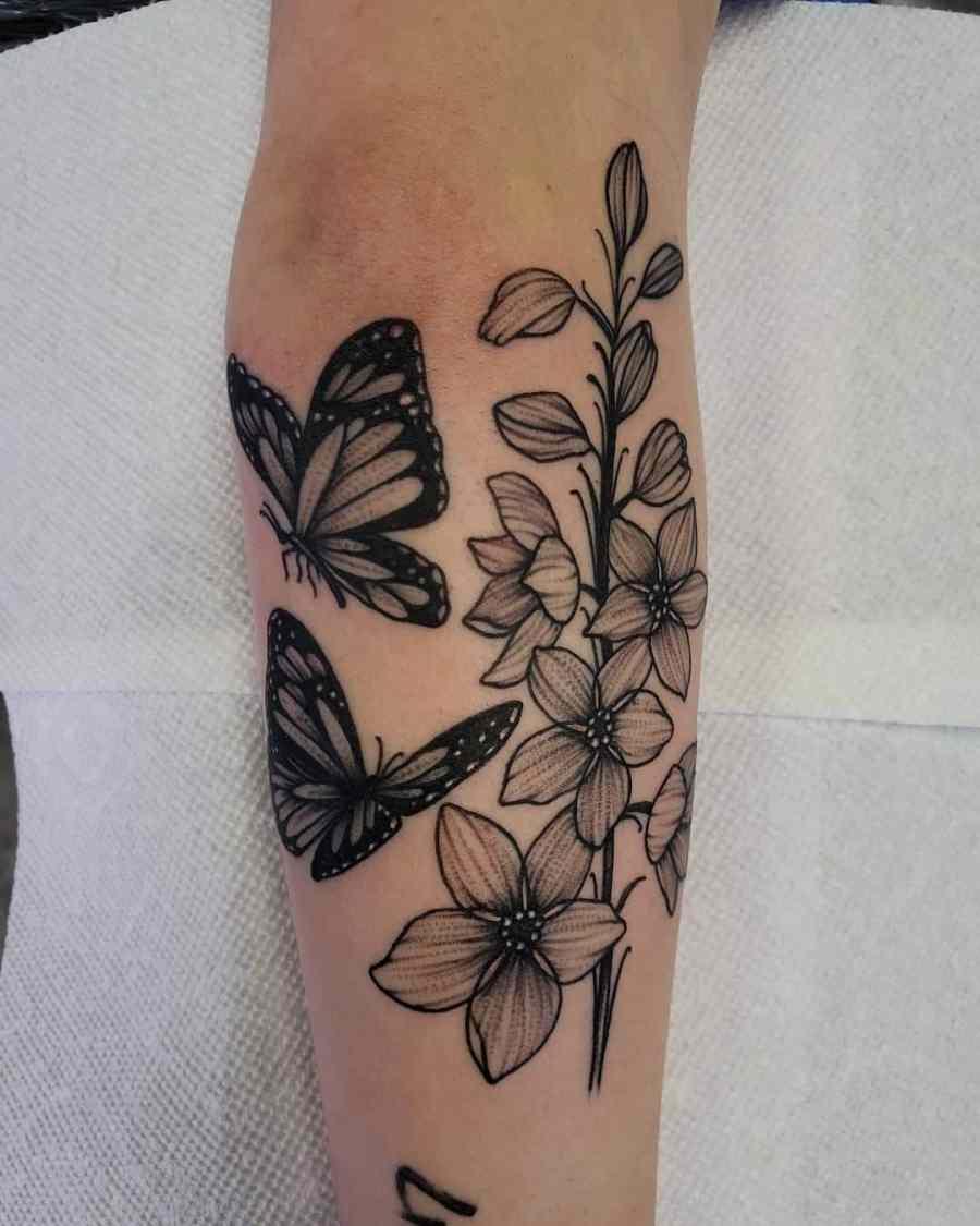 July Birth Flower Tattoos 2021072805 - July Birth Flower Tattoos: Water lily Tattoo & Delphinium