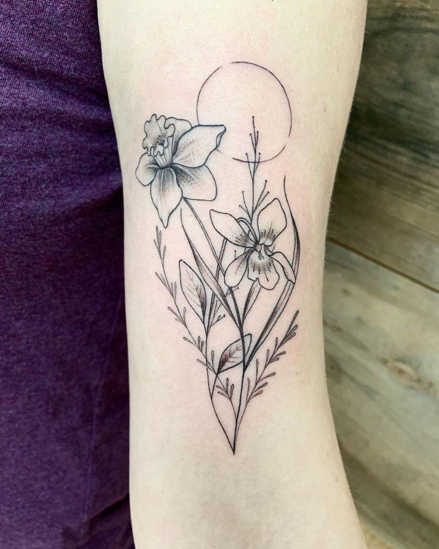 December Birth Flower Tattoos 2021080601 - December Birth Flower Tattoos: Narcissus and Holly Tattoo