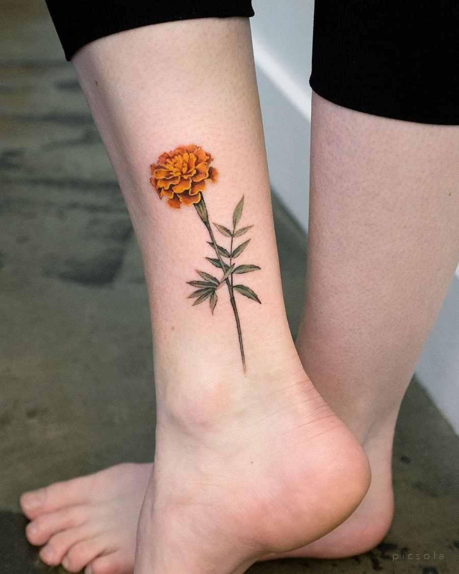 October Birth Flower Tattoos 2021080203 - October Birth Flower Tattoos: Marigold and Cosmos