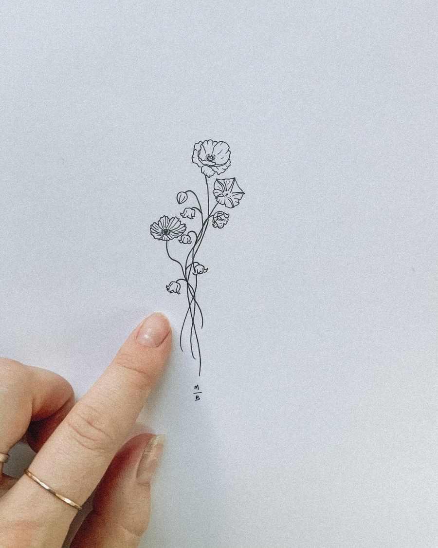 October Birth Flower Tattoos 2021080205 - October Birth Flower Tattoos: Marigold and Cosmos