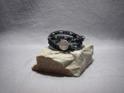 3 wrap bracelet 6mm Matte black Onyx & African Turquoise