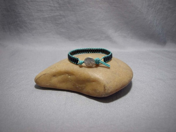 Single Wrap bracelet Onyx Barrel