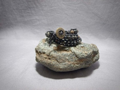 3 wrap bracelet 8mm Black Fossil Coral