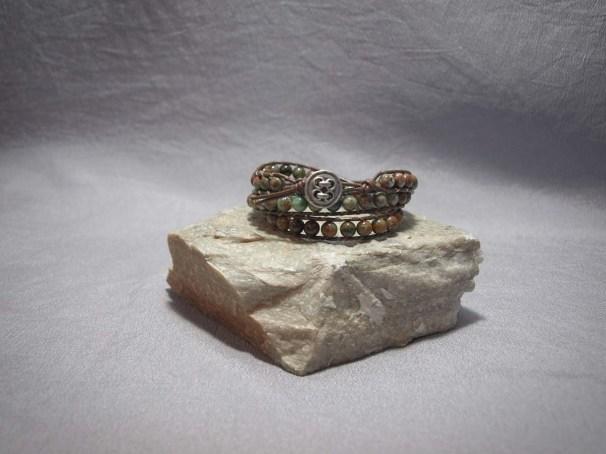 3 wrap bracelet 6mm Green Opal