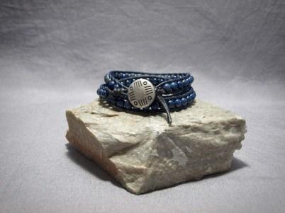 3 wrap bracelet 6mm Lapis