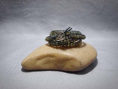 3 wrap bracelet 6mm Chocolate Labradorite