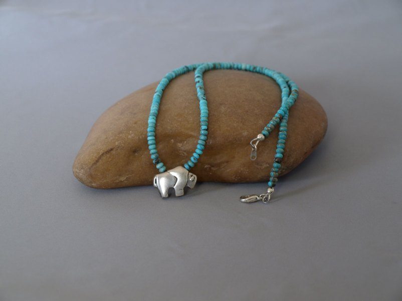 US Turquoise with Sterling silver Buffalo 21 in.