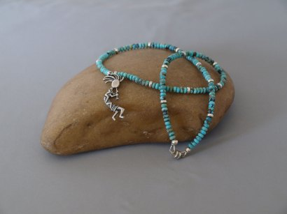 US Turquoise with Sterling silver spacers and Sterling silver Kokopelli 17.5 in.