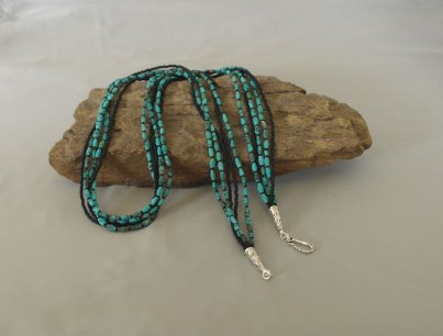 5 Strand Matted Turquoise & Black Seed Bead Necklace 30 in.