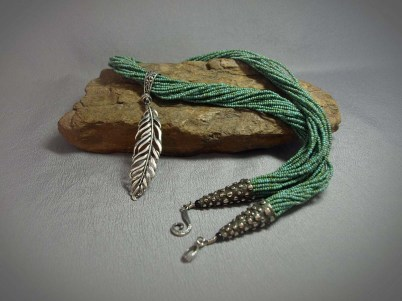 21 Strand Picasso seed beads & Sterling silver feather