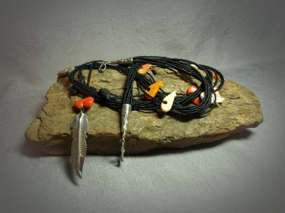 8 Strand Necklace matte black seed beads with various stone Fetesh Bears