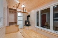 Closed bathroom door and fireplace