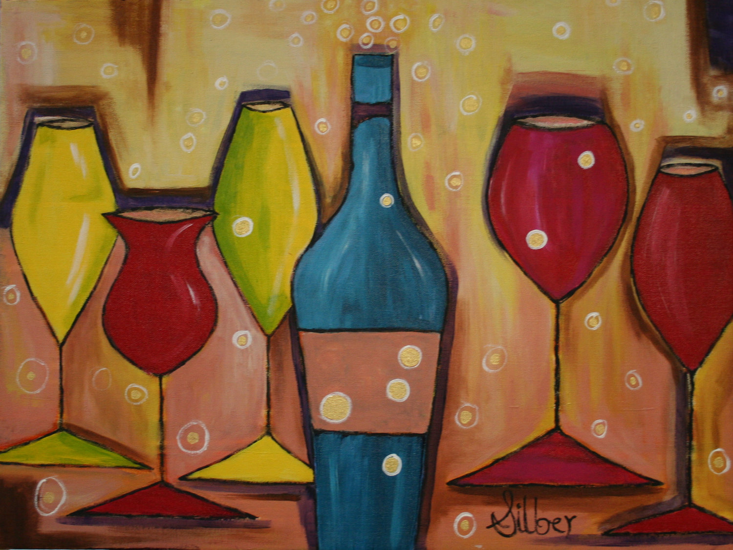 Autumn wine glass painting at the worthen house howl for Paint vino