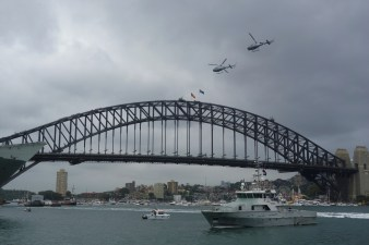 Australia Day at the harbour - helicopter fly-over