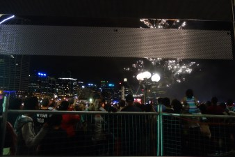 Fireworks over Darling Harbour in the mirror