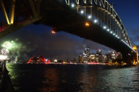 Twilight and fireworks from Milsons Point