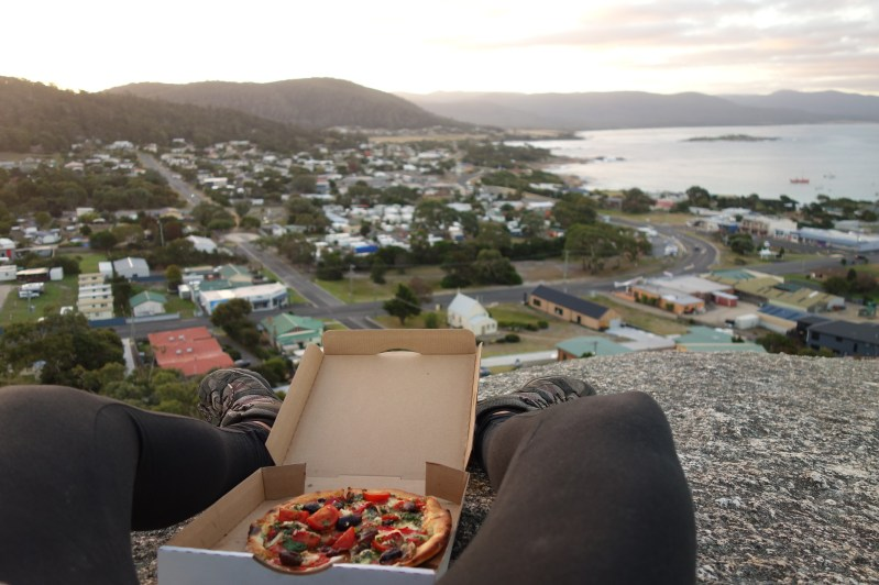 Sunset and pizza on the Town Lookout Rock