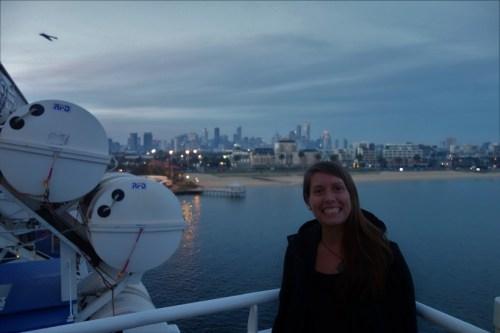 Departing Port Melbourne at dusk