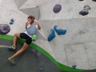 At the climbing wall