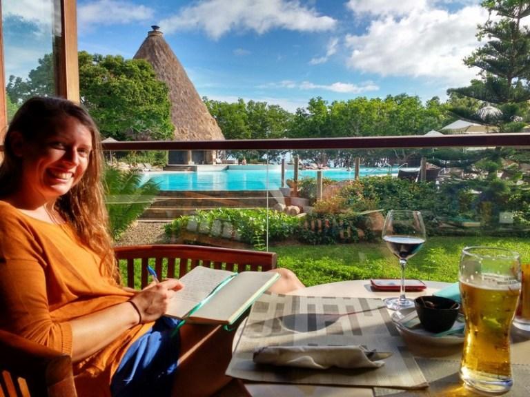 Writing my diary in the luxury of the Sheraton Hotel in 'Domaine de Deva'