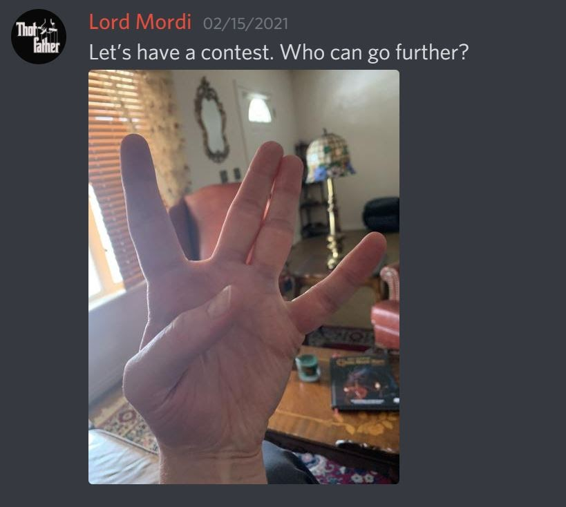 User @LordMordi posts a photo of his hand making the fairy hand signal and says 'Let's have a contest. Who can go further?'