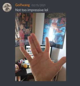 User @Golfwang posts a photo of his hand making the fairy hand signal and says 'Not too impressive lol.'