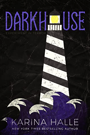 Cover of Darkhouse by Karina Halle. The cover is a drawing of waves and lighthouse, done in block colors of black, purple, white, and yellow.