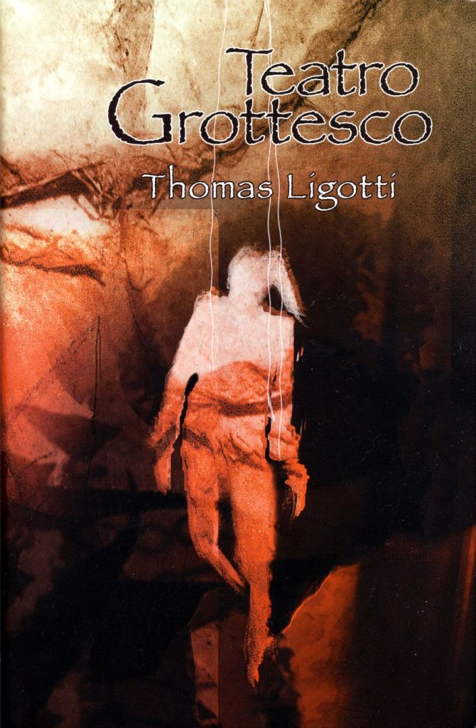 Cover of Teatro Grottesco. Cover shows an image of what seems like a paper silhouette of a puppet on strings, against a paper background. The paper in the image for both the silhouette and background is in shades of orange, brown, yellow, and some red.