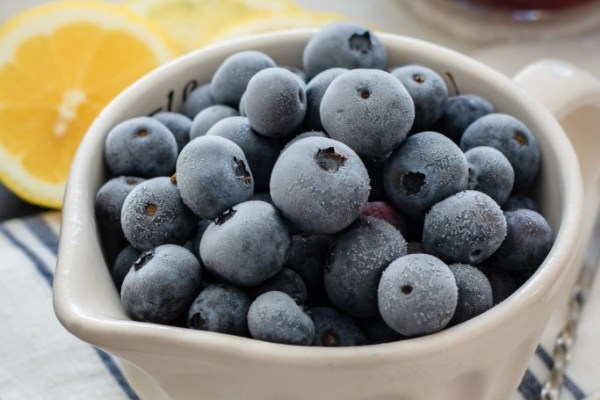 Tasty homemade ice cream with banana and blueberries