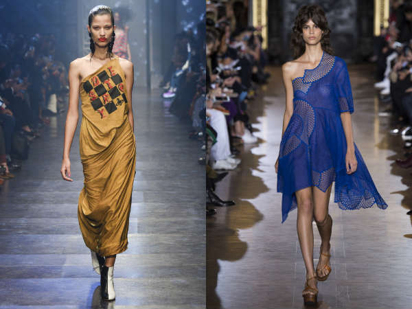 On one shoulder gowns