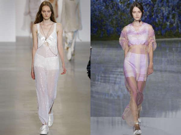 Dresses from transparent fabrics