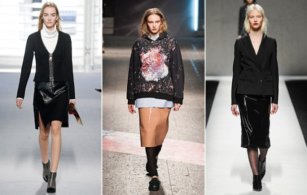 Patent leather skirts