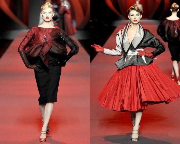 John Galliano models in red
