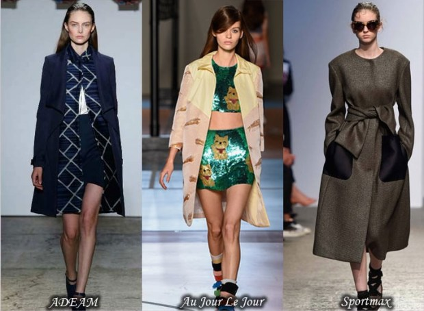 Combined fabrics trench coats Spring 2016