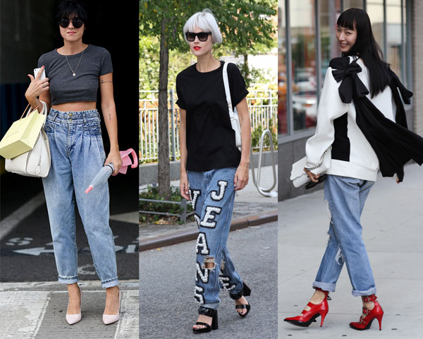 Street fashion boyfriend jeans with shoes