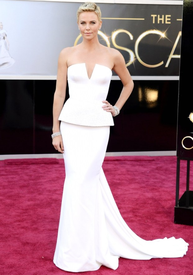 Charlize Theron in a dress by Dior, 2013