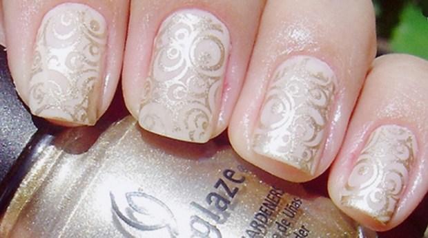 Stamping nail art for wedding 2016