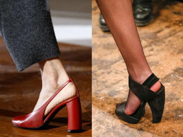 Unusual thick heels