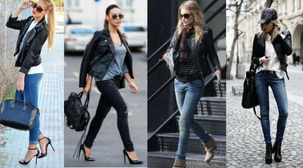 How to wear a biker leather jacket with jeans