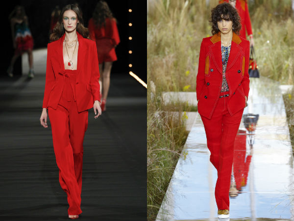 Red women's suits 2017 spring summer