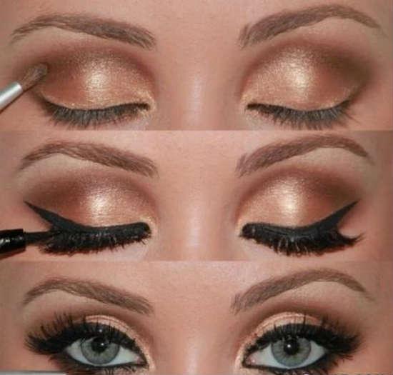 Golden eyeshadows can transform gray eyes into blue
